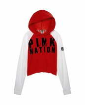 Victoria's Secret Pink Nation Pullover Raglan Hoodie Sweatshirt Red Medi... - $54.28