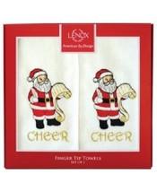 "Lenox Finger Tip Towels Set of 2 ""Cheer"" Santa Cheer Multi Color Fingert... - $14.27"