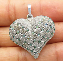 925 Sterling Silver - Vintage Green Topaz Puffy Love Heart Drop Pendant - P5976 - $24.13