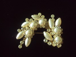 Vintage brooch pin faux pearl clear rhinestones gold tone crescent swag ... - $17.41