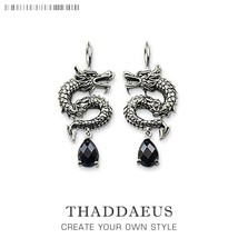Drop Earring Chinese Dragon from 925 Sterling Silver,Thomas Style Ethnic... - $19.81