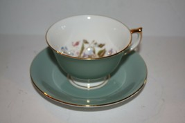 AYNSLEY Sage Green and Floral Gold Trim Teacup and Saucer - $41.11