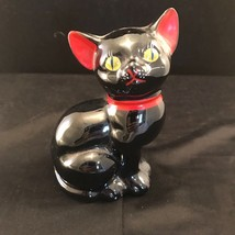 Mid-Century Redware Black Cat Figurine With Red Bow And Yellow Eyes Japan - $16.83