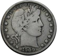 1909 Silver Barber Half Dollar Coin Lot A 356