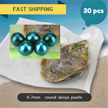 GREEN Akoya Pearl oyster Round shape Vacuum Packed 6-7m  30pcs Fast Ship... - $92.08