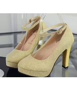 89H165 elegant strappy ankle pump in candy color  Size 34-40, gold - $38.80