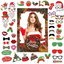 Souarts 56PCS Christmas Photo Booth Props Santa Snowman Reindeer Photo P... - $29.04