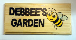 Personalised Bee Garden Sign, Debbees Debbie's Shed Cottage House Name C... - $12.35