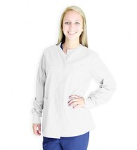 Scrub Jacket White Warm Up Spectrum Uniforms Round Neck Medium Women's 4... - $19.37
