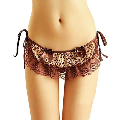 PANDA SUPERSTORE Sexy Brown Leopard Spicy Lingerie Lace-up Hipster G-String Shee