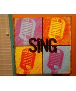 """SING"" Microphones METAL DECORATIVE SIGN DENNIS EAST INTERNA 11.25"" Sq #... - $9.89"