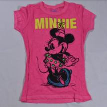 Disneyland Girls Pink Minnie Mouse Cap Sleeve Shirt Large Early Animation - $9.79