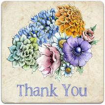 Thank You greeting card Handmade flowers 15cm x 15cm - $3.60