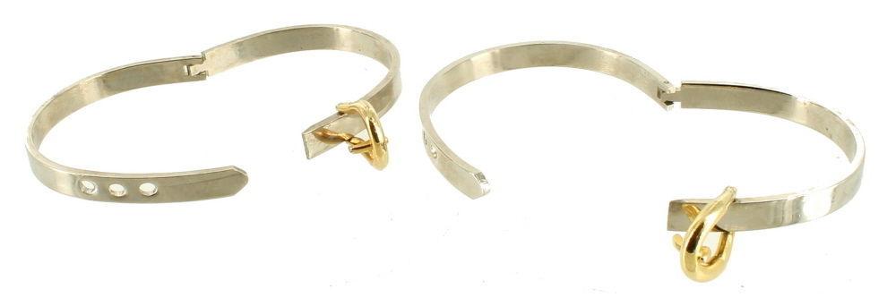"""Vintage Mod Silver & Gold Tone Belt Buckle Bangle Bracelets Adj. 6.25""""-7"""" image 3"""