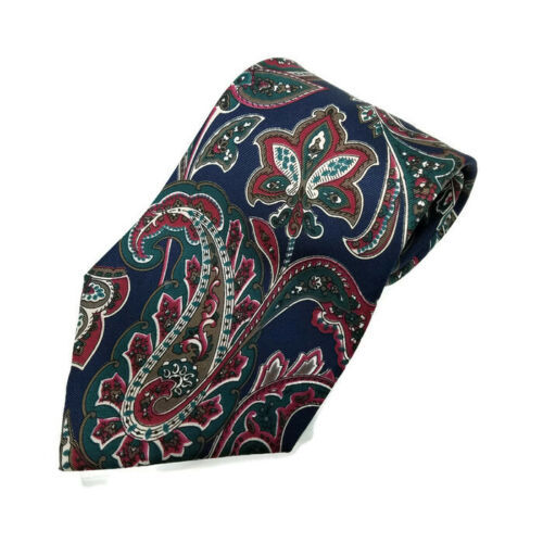 "Primary image for Halston Multi Color Paisley Floral Italian Silk Men's Tie Made In USA 57"" L"