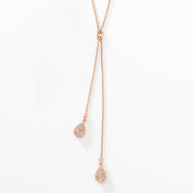 Touchstone Swarovski Pavé Teardrop Pendant Necklace Rose Gold Sterling S... - $49.95