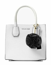 NWT MICHAEL KORS Flower Ruffle Pom Pom Bag Charms Key Ring Black Gold 32... - $45.54