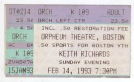 Keith Richards 2/14/93 Boston MA Orpheum Concert Ticket Stub! Rolling St... - $19.99