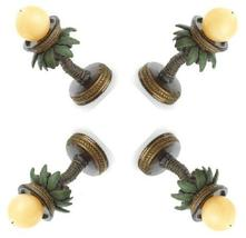 Four (4) round coconut palm tree oasis tropical patio deck table candle ... - $26.00