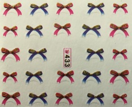 BANG STORE Nail Art Water Decals Pink & Blue Glitter Bows FUNNY AND CUTE - $2.12