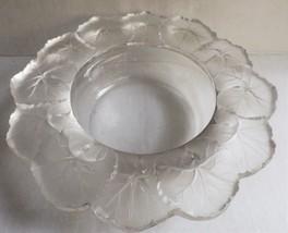 "Vintage Lalique Crystal Honfleur Geranium Round Bowl 9"" Original Label Signed - $217.80"
