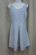 Maison Jules Dress Sz S Blue white Striped Sleeveless Flare Business Cas... - $34.09