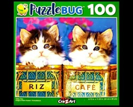100 Piece Jigsaw Puzzle Puzzlebug 9 in. x 11 in., Cute Tabby Tins - $4.74
