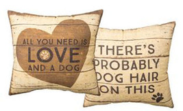 "ONE All You Need is Love and a Dog Pillow Primitives by Kathy 16""X16"" Do... - $29.95"