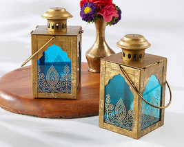 20 Boho Moroccan Indian Diwali Gold Blue Candle Lantern Wedding Decor Favor - $199.95