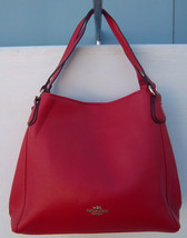 Coach Shoulder Bag In Polished Pebbled Leather DK/Cherry Red Handbag  - £129.25 GBP