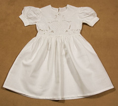 RENDEZVOUS NEW ORLEANS GIRLS 4 WHITE DRESS ORNATE EMBROIDERY CUT WORK PO... - $25.24