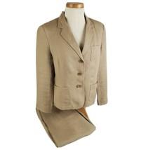 Talbots Petites Womens Two Piece Linen Pant Suit Size 12 Beige Capri Len... - $23.99