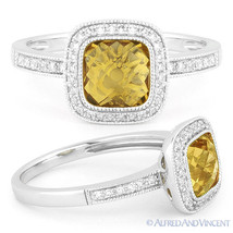 1.56ct Checkerboard Citrine & Round Cut Diamond Pave Halo Ring in 14k Wh... - £402.61 GBP