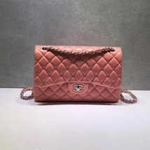 BRAND NEW AUTHENTIC CHANEL PINK QUILTED LAMBSKIN JUMBO DOUBLE FLAP BAG SHW