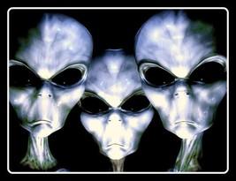 "4.5"" Three Creepy Aliens vinyl sticker. Area 51, abduction, UFO decal fo... - $2.92"
