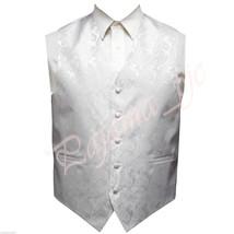 WHITE Paisley Tuxedo Suit Dress Vest Waistcoat Formal Party Prom Wedding - $19.78+