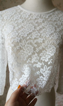 3 Quarters Sleeve White Lace Top Loose Fitting Bridesmaid Crop Lace Top image 4