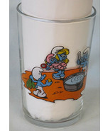 "Smurf Bathtime & Smurf Fling a Kite Glass 3 7/8"" Tall 1985 Benedictin - $19.69"