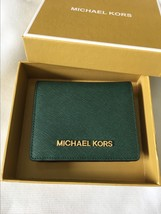 Michael Kors Jet Set Travel Flap Card Holder Wallet Moss Green Authentic - $79.00