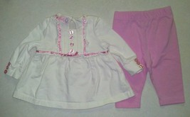 Girl's Size 12 M Months 2 Piece Top & Pant Outfit Ribbon & Ruffle Embell... - $11.60