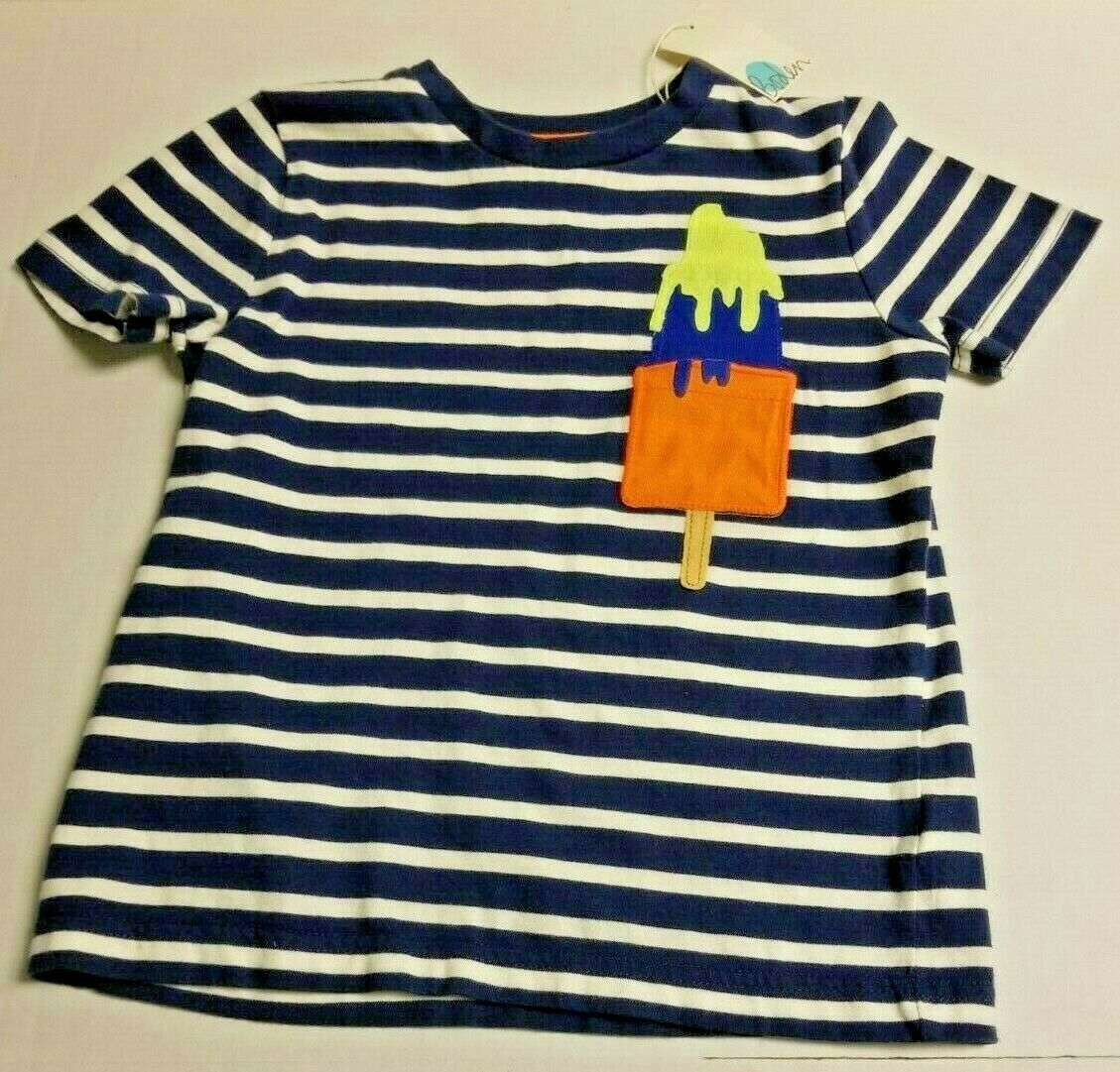Primary image for MINI BODEN Boy's 6-7y Popsicle Ice Cream Bar Stripes Short Sleeve SS Shirt NEW