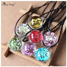 Fashion Dried Flower Glass Ball Women Necklace Pendant Rope Chain Neckla... - $8.10