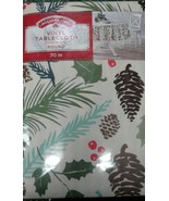 Pine cones Vinyl Table Cloth 70 in round New Holly Christmas Tree Branches - $13.50