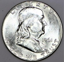 1961 Franklin Half Dollar; Choice BU; Nearly FBL   - $39.59