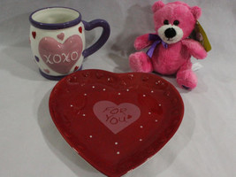Valentine's Day Gift Set for Her, Be Mine Kisses Mug Cup Pink Teddy Bear... - $23.95