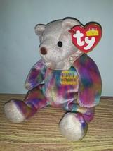 "MWMTs Ty 7"" Beanie Babies OCTOBER Happy Birthday Teddy Bear with Neck Ruffle NEW - $13.00"