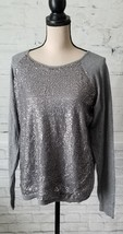 Elle Women's Dark Gray Sequin Elegant Cute Table Sweater Size XL NEW WITH TAGS - $15.84