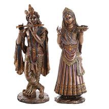 Radha Krishna Hindu Deity Figurine Set Indian Deity Collectible 10 Inch - £53.70 GBP