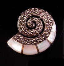 Vintage Signed Snail Brooch - sterling marcasite pendant - mother of pea... - $165.00