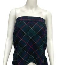 Vintage Tommy Hilfiger women's strapless plaid green wool size XL/TG - $18.80
